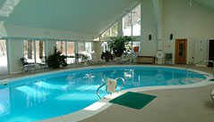 Sheltered by a cathedral ceiling in a climate-controlled, glass-enclosed room overlooking the Black River, the freeform indoor pool remains popular year-round as well