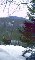 Horse-drawn sleigh rides are offered seven days a week during the holiday period and on weekends throughout the winter season