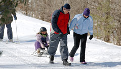 Hawk maintains a dedicated, lighted, groomed sledding hill far enough from the roads to ensure safe participation.